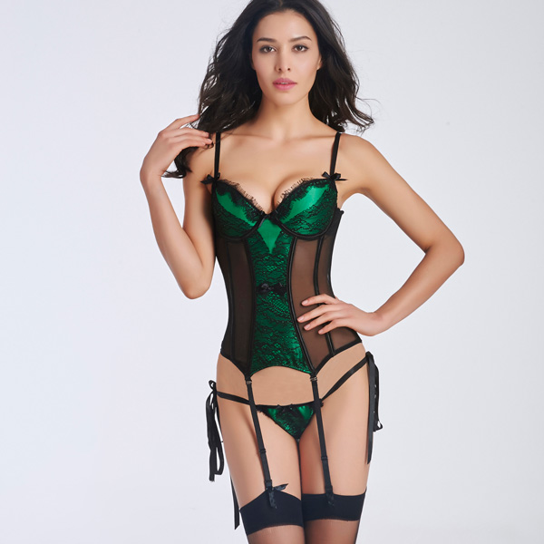 Sexy Lace Transparent Stain Overbust Corset Bustier With Removable Garters HP8501