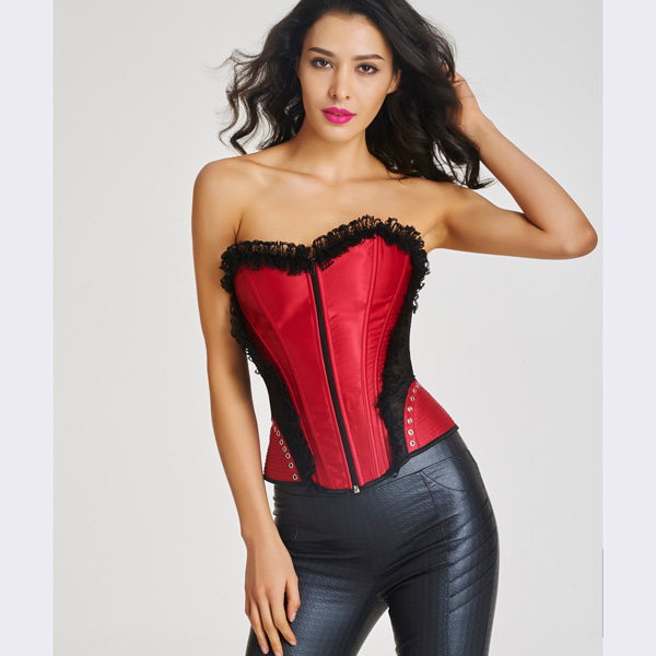Women's Front Zipper Premium Satin Overbust Corset With Floral Lace HP8507