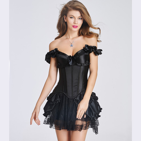 Elegant Ruffle Trim Plastic Boned Back Lace Up Corset Bustier HP8527