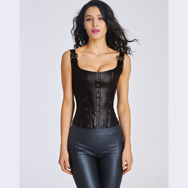 Women's Sexy Faux Leather Bustier Corset With Lace Up Back HP8532