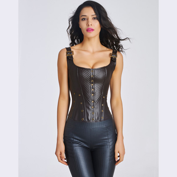 Women's Sexy Faux Leather Bustier Corset With Lace Up Back HP8531