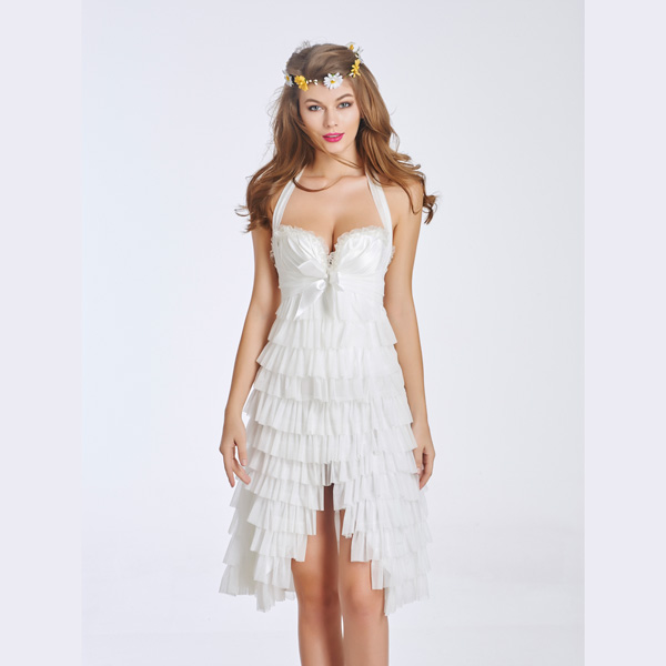 Women's Elegant White Lace Overlay Corset Dress With Underwire Cups HP8550