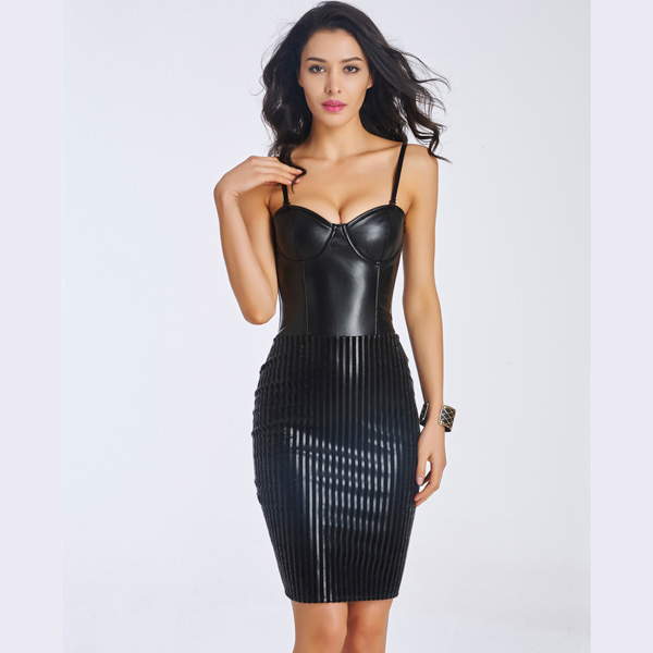 Women's Fashion Sexy Black Leather Corset Dress With Back Zipper HP8551