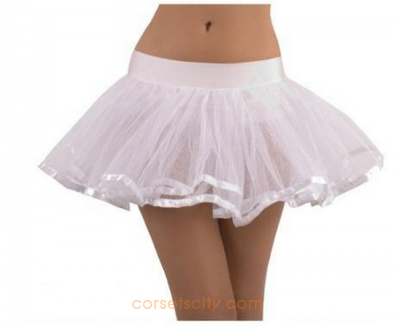 White Doube Layer Costume Tutu Petticoat With Satin Trim HP5771
