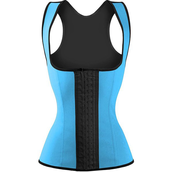 3 Hook Workout Faja Shapeware Latex Rubber Waist Training Bustier Corset Light Blue HP1313