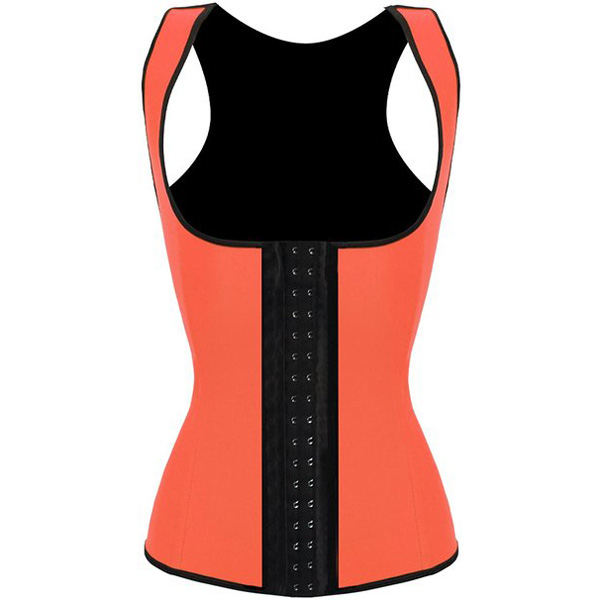 3 Hook Workout Faja Shapeware Latex Rubber Waist Training Bustier Corset Orange HP1314