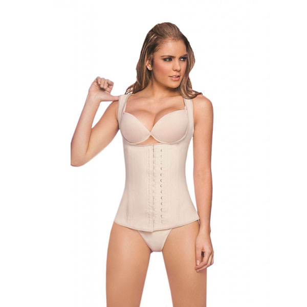 Womens 3 Hook Full Vest Latex Waist Cincher Girdle Band Beige Corsets HP8206