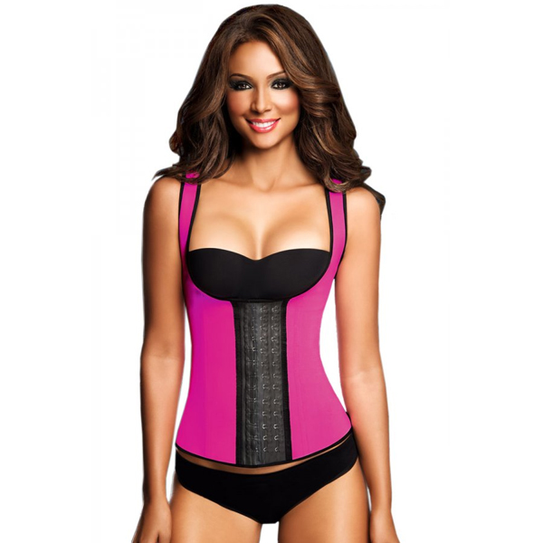 Womens 3 Hook Long Deportiva Latex Vest Body Shaper Pink Waist Training Corsets HP8201