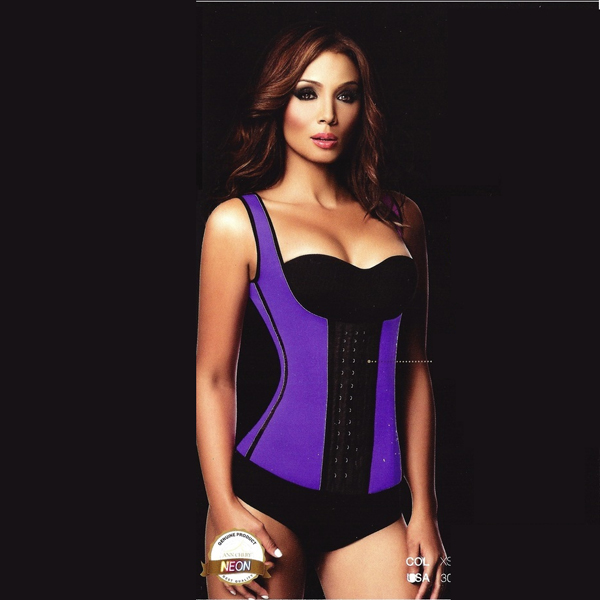 Womens 3 Hook Long Deportiva Latex Vest Body Shaper Purple Waist Training Corsets HP8203