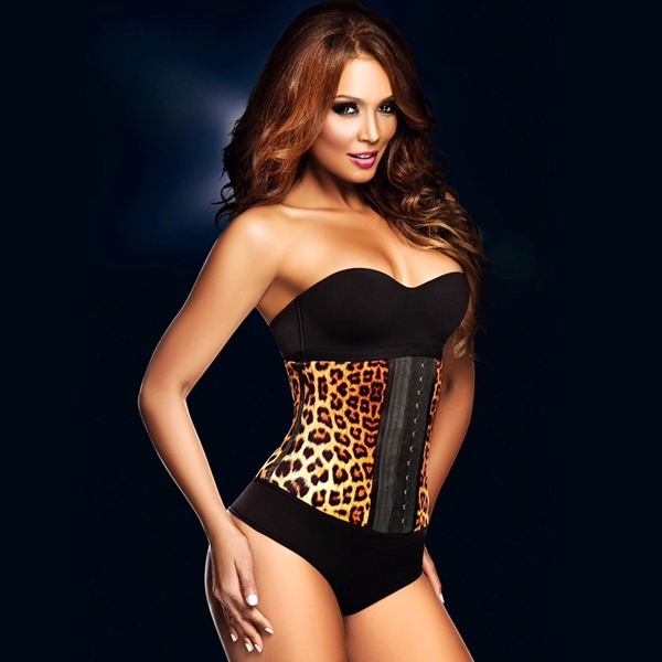 Womens Sexy Latex Sport Girdle Waist Training Yellow Cheetah Leopard Corset Waist Shaper HP8064
