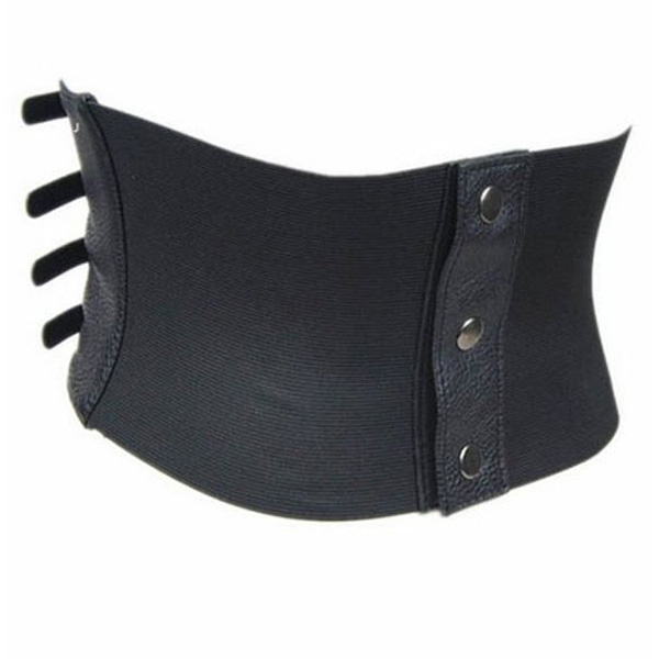Sexy Womens Black Faux Leather Pin up Wide Waist Belt Corset Black CC2011