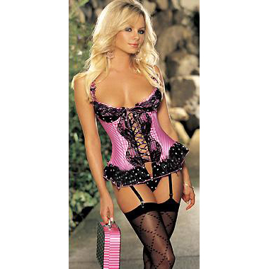 Satin And Mesh Bustier With G-String HP5134