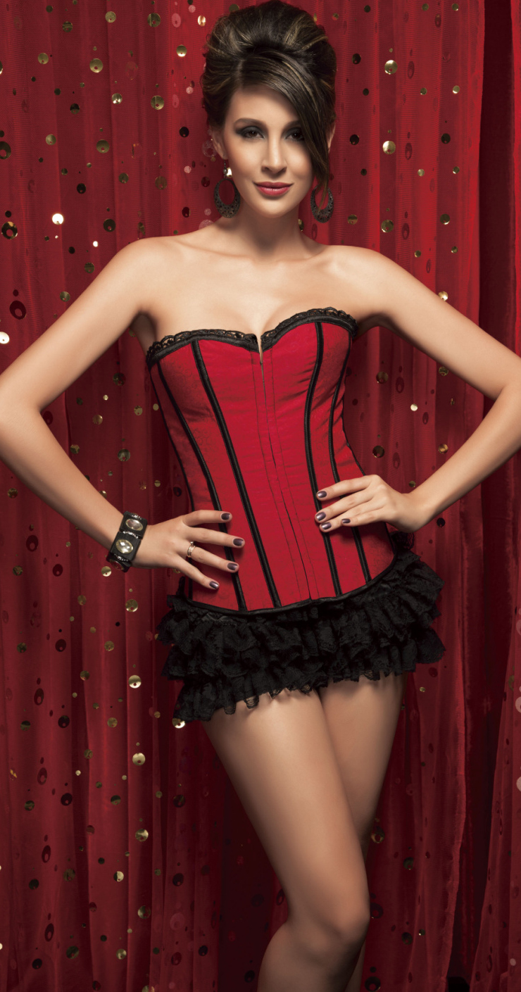2Pc Brocade Corset HP5034