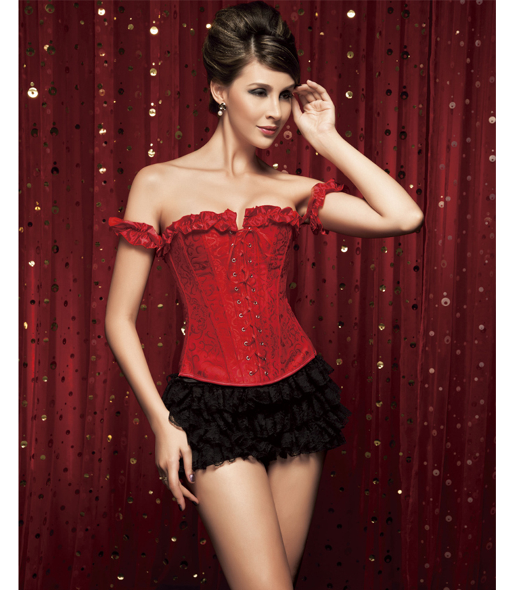 Tie-Strap Embroidered Corset & Shorts HP5033