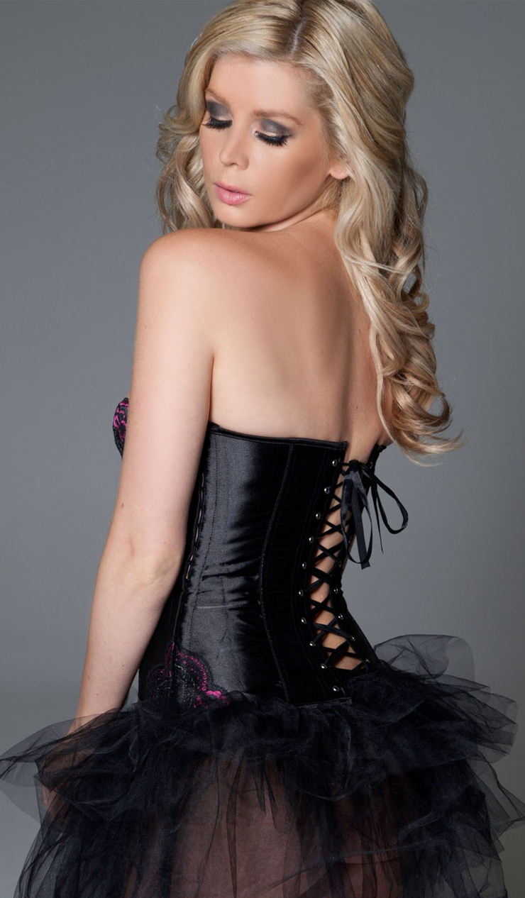 Underwired Black Bustier Corset & Pettiskirt HP5052