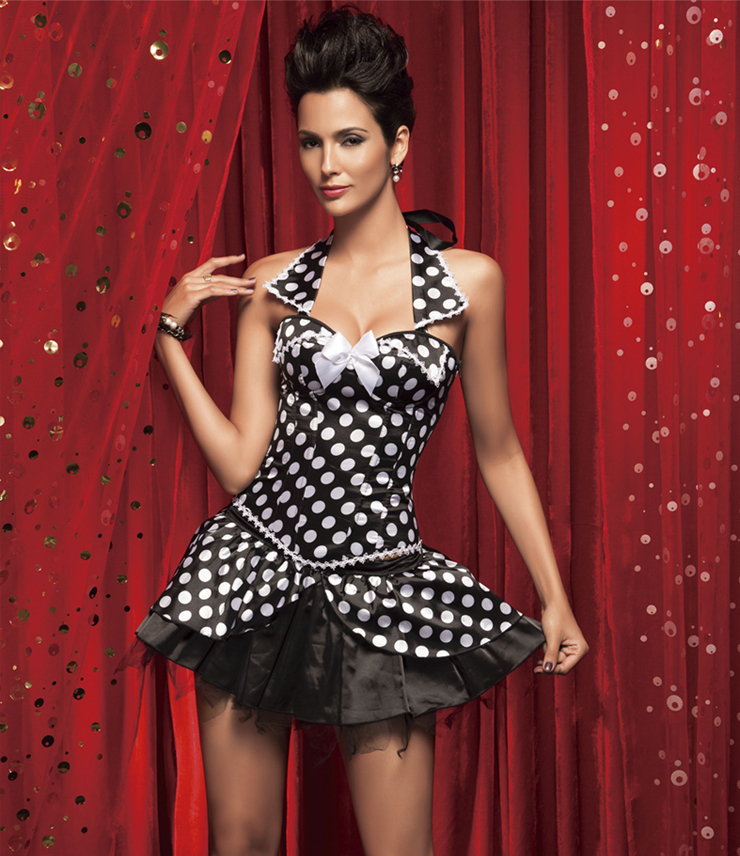 Polka Dot Collar Corset & Skirt HP5029