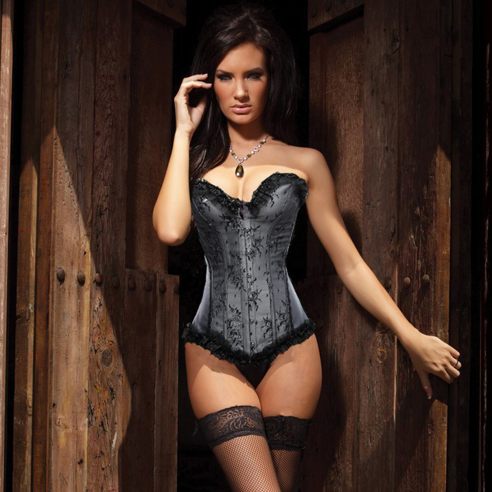 Beauty Floral Burlesque Corset Gray HP5923