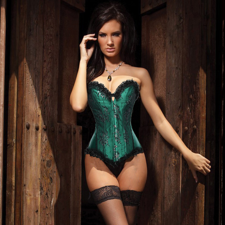 Beauty Floral Burlesque Corset Green HP5922