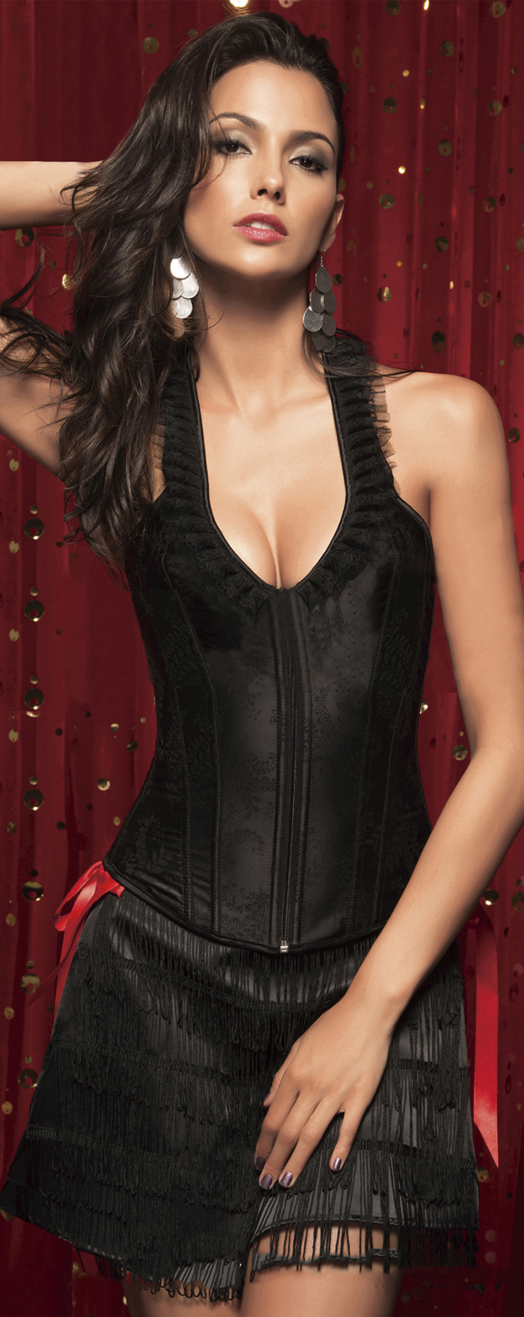 Black Brocade Full-Back Corset HP5283