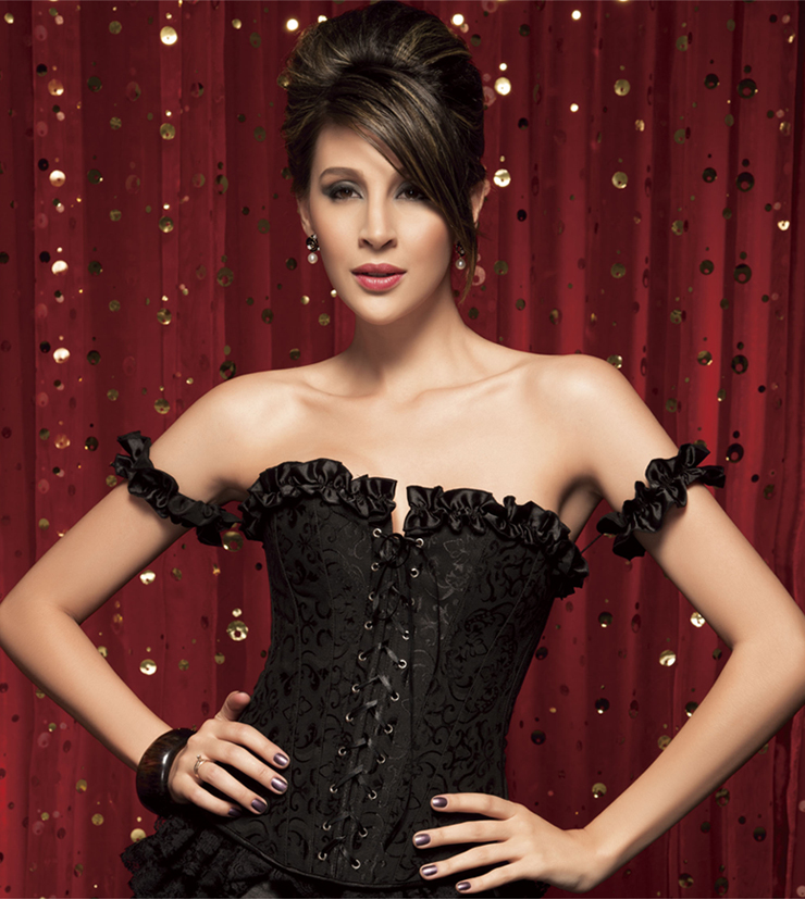 Black Tie-Strap Embroidered Corset HP5354