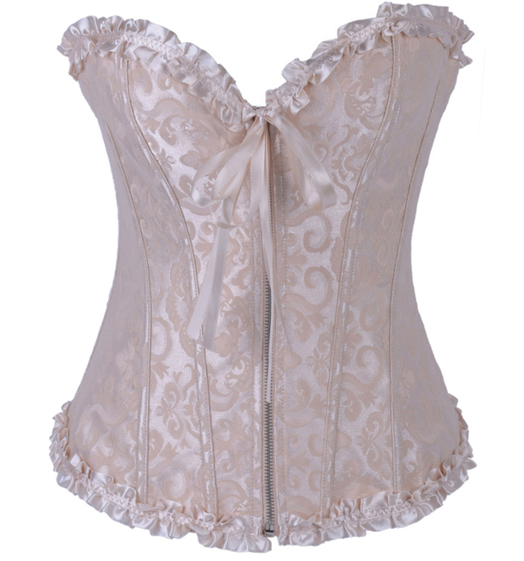 Brocade Corset Ivory With Zipper Front HP5492