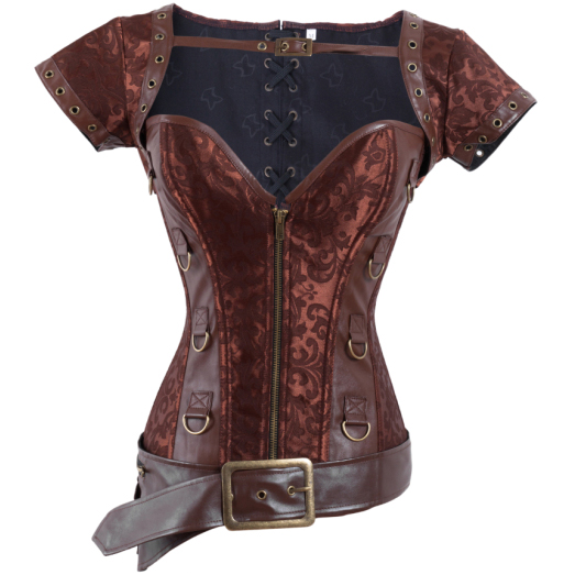 Brocade & Faux Leather Shrug & Belt Corset HP5158