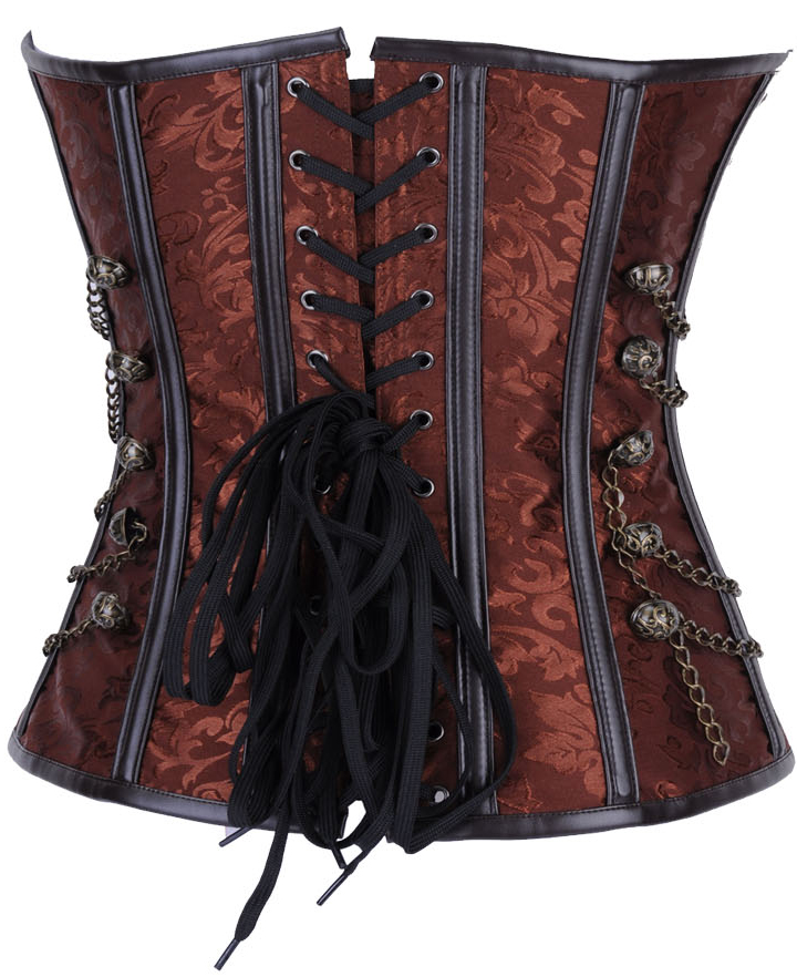 Brown Steel Boned Steampunk Corset HP6004