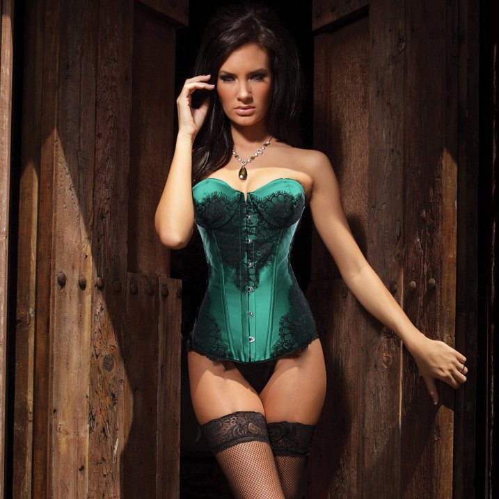 Classical Lace Overlay Corset Green HP5434