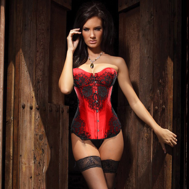Classical Lace Overlay Corset Red HP5433