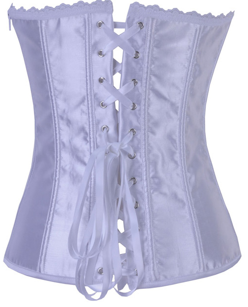 Deep-V Front Brocade Corset White HP5868