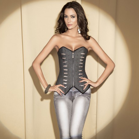 Denim Zipper Corset HP5272