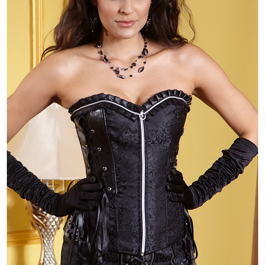 Embroidered Zipper Corset Top HP5166