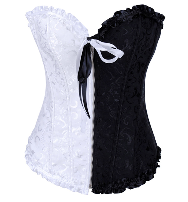 Floral Brocade Black & White Corset HP5495
