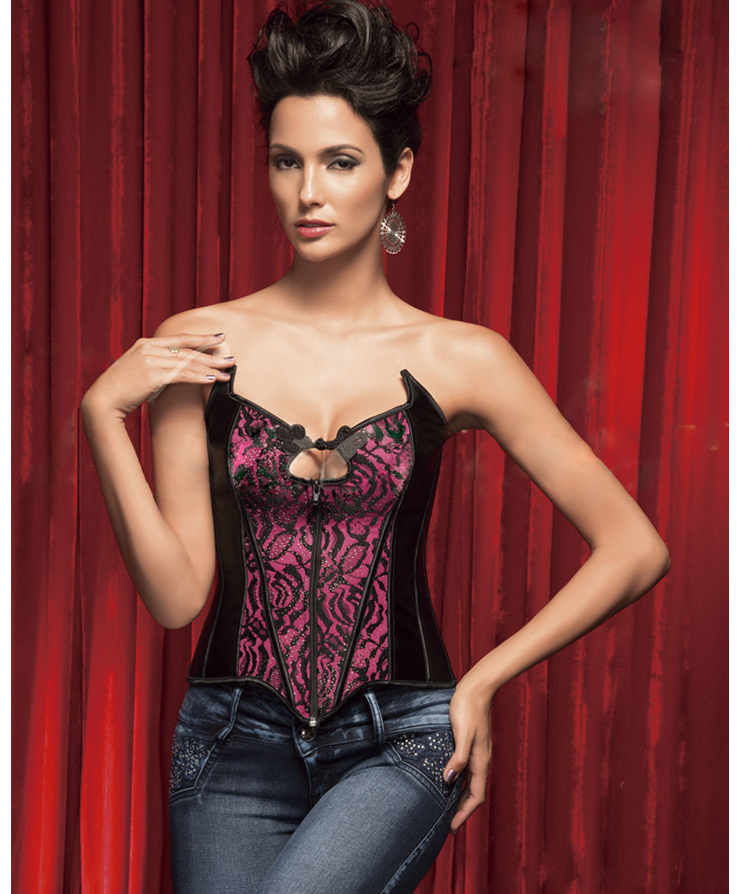 Flower Velvet Corset With Rhinestone Accents HP5359