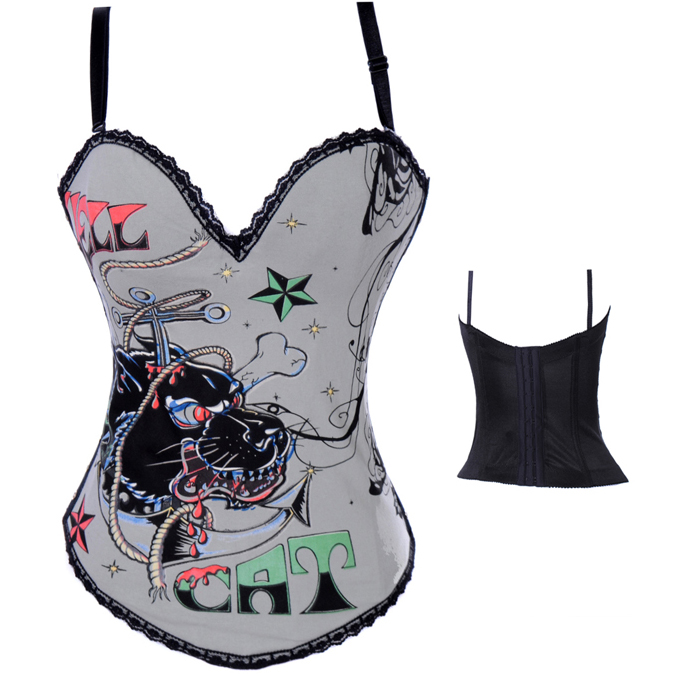 Hell Cat Graffiti Print Corset Gray HP5392
