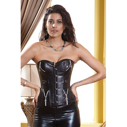 Leather Corset With Zippers & Buckles HP5842