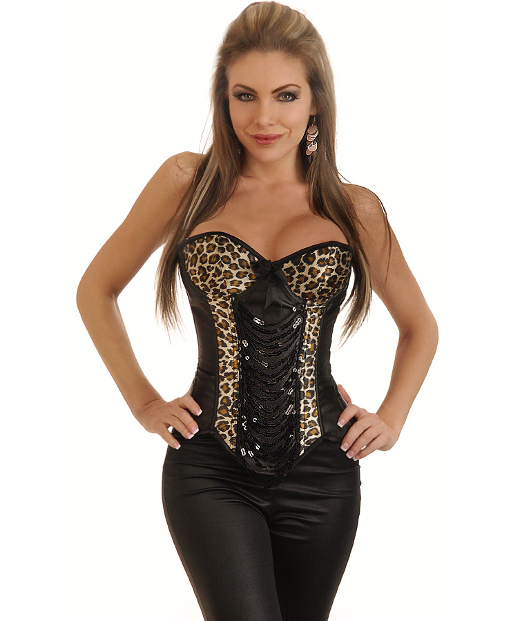 Leopard & Sequin Underwire Corset Top HP5437