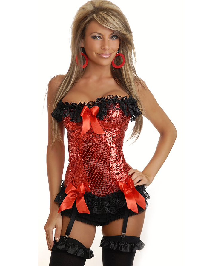 Red Sequin Underwire Corset HP5443