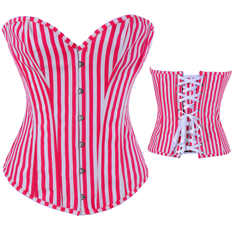 Red And White Streak Corset HP5312