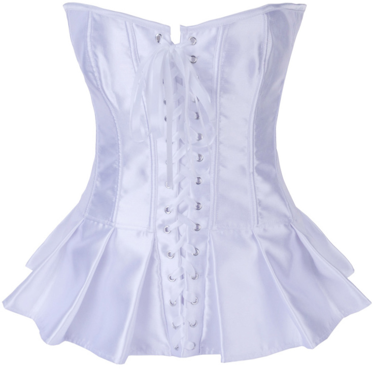 White Satin Skirted Corset HP5869