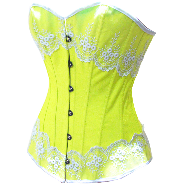 Yellow Brocade Fabric Corset HP5159