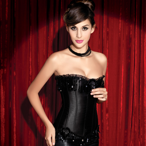 Black Sequin Burlesque Corset HP5932