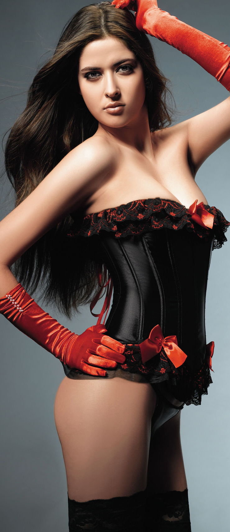Black And Red Lace Up Corset HP6021