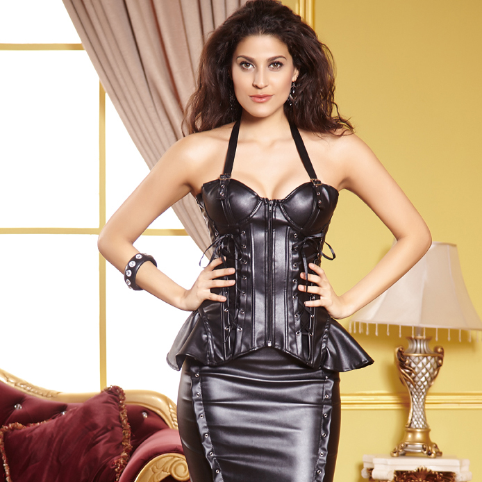 Faux Leather Lace-Up Corset HP5628