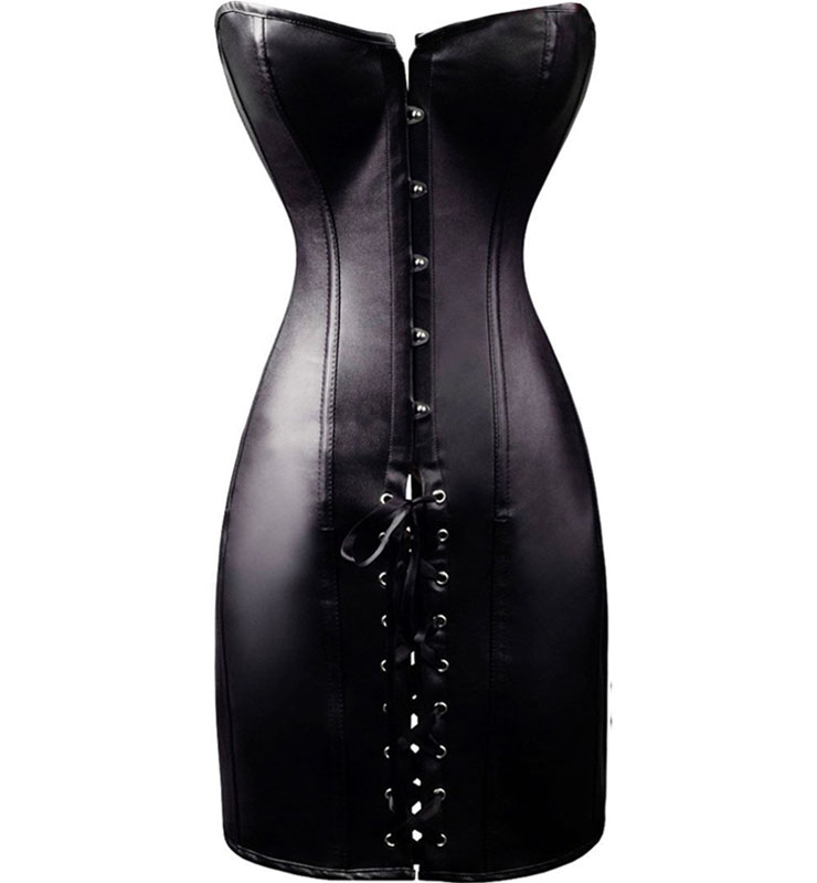 Leather Lace Up Corset Dress HP5623