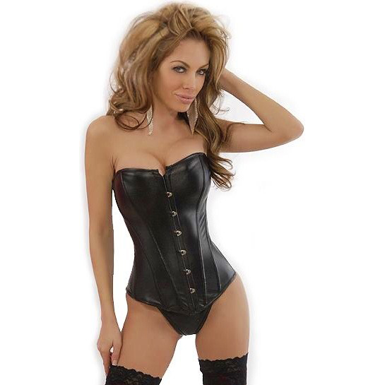 Strapless Black Leather Corset HP6036