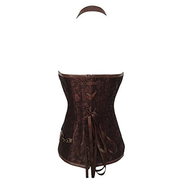 Womens Retro Goth Steel Boned Steampunk Bustiers Corsets Brown HP9050